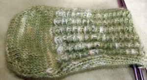 Second angora sock just before I started the heel