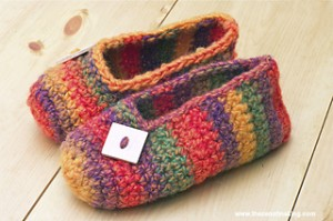 Rainbow  Striped Crochet Slippers by Haley Pierson-Cox